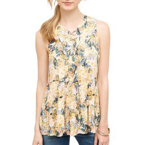 Anthro Floreat Yellow Orange Floral Lace Up Top 10